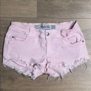 Brandy Melville Pink Frayed Shorts
